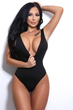 Aliyah Very sexy black swimsuit at 24hr London Escorts