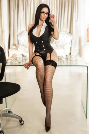 Gloucester Road Escort Clarissa. Wearing Sexy secretary outfit at 24hr London Escorts Agency
