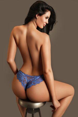 Gloucester Road Escort Clarissa. Wearing blue lace panties at 24hr London Escorts Agency