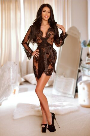 Emelia in Black Lingerie 23yrs 34B Bond Street Escort at 24hr London Escorts Agency