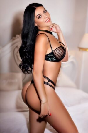 MayfairEscort in London Anamona. Wearing BDSM black lace at 24hr London Escorts Agency