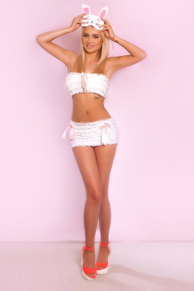Linda Sexy Blonde London Escort. Wearing sexy bunny lingerie costume, at 24hr London Escorts