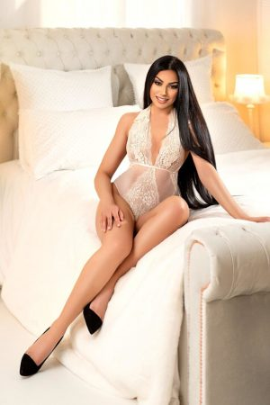 Marylebone escort Raquel wearing sexy ivory lingerie at 24hr London Escorts